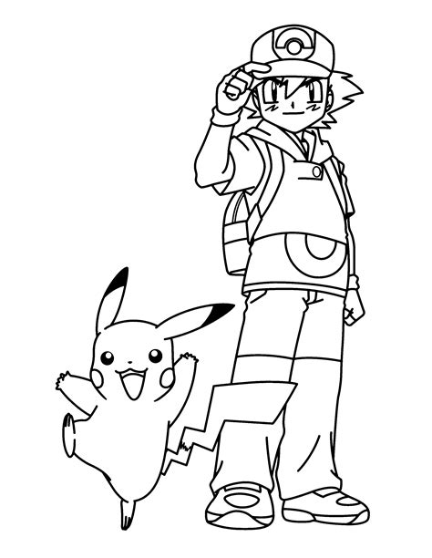 pokemon coloring pages pikachu and ash ash pikachu brock
