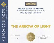arrow of light certificate template certificate templates boy scouts and scouts on