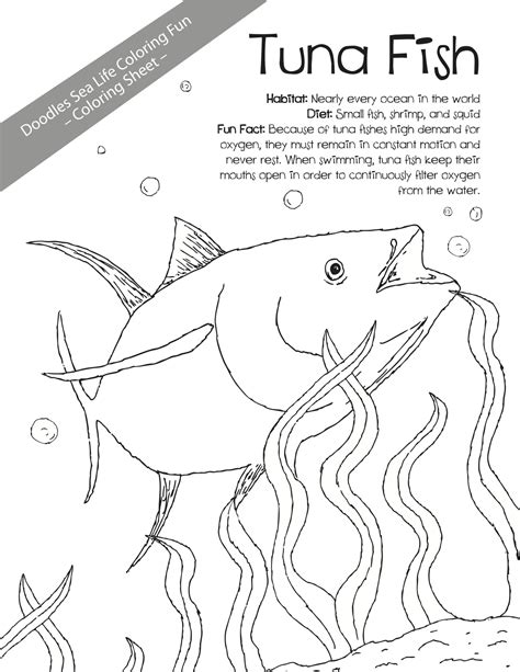 tuna fish coloring page doodles ave