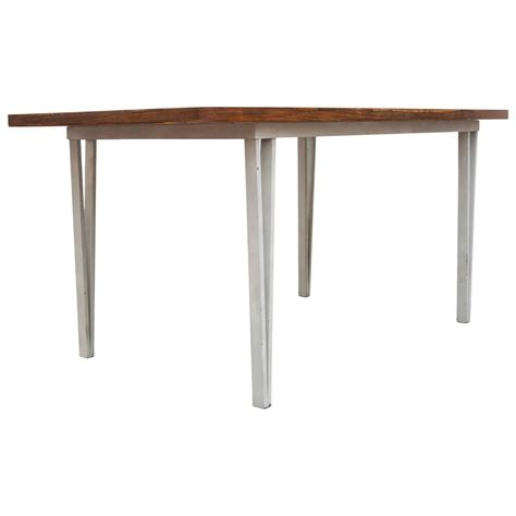 Modern Rosewood Bowed Top Dining Table With White Metal Top Dining Room Table