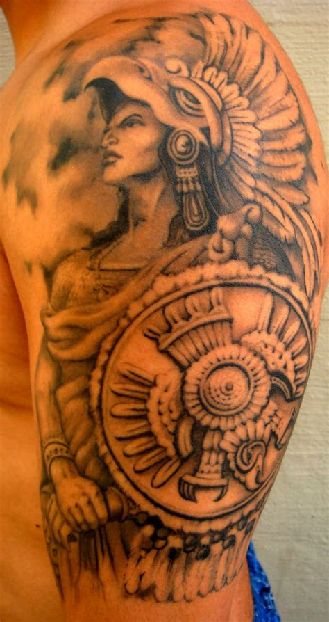 warrior tattoo sleeve designs aztec warrior best designs