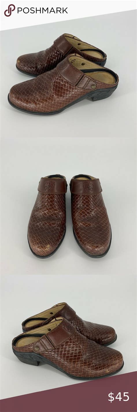 ariat sport mules brown leather weave sz  size   great condition   light scuffing