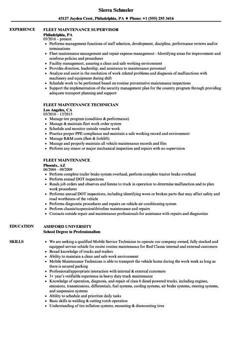 Fleet Manager Sle Resume by Fleet Maintenance Resume Sles Velvet