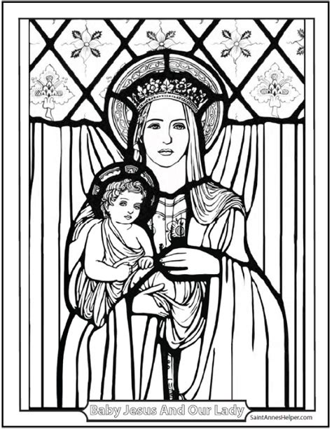 baby jesus and mary coloring page