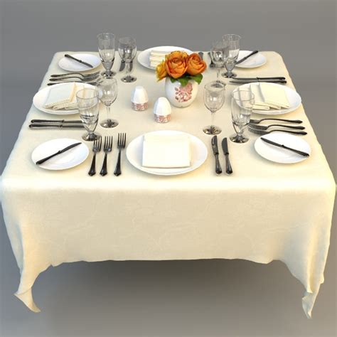 dining table place settings dining table place settings 3d model max obj 3ds fbx