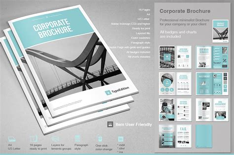 Corporate Brochure Template Free by Corporate Brochure Brochure Templates Creative Market