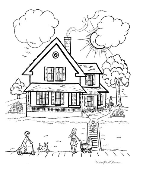 printable coloring pictures of a house houses coloring pages 014