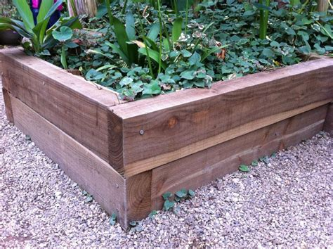 raised railway sleeper beds at butterfly farm