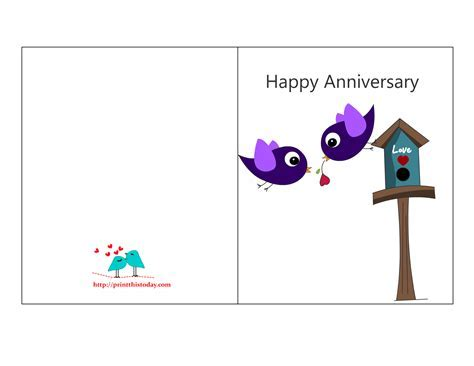 Free Anniversary Cards to Print   Free Printable