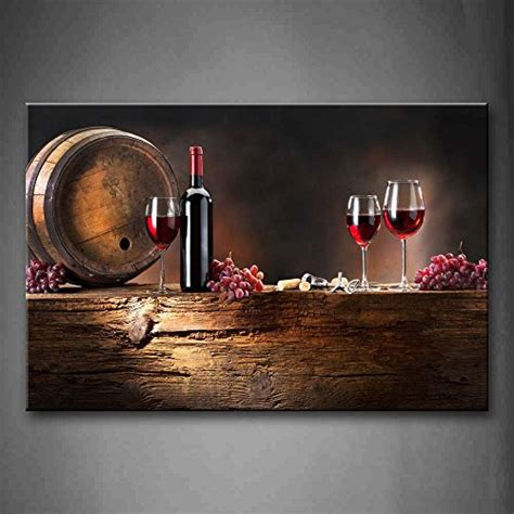 grapes and wine home decor brown wine grapes and barrel wall art painting picture