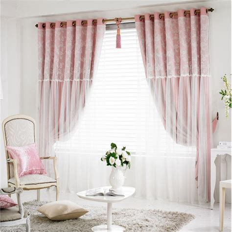 simple modern lace finished blackout curtain princess wind floral curtains living dining room bedroom double floating curtains home