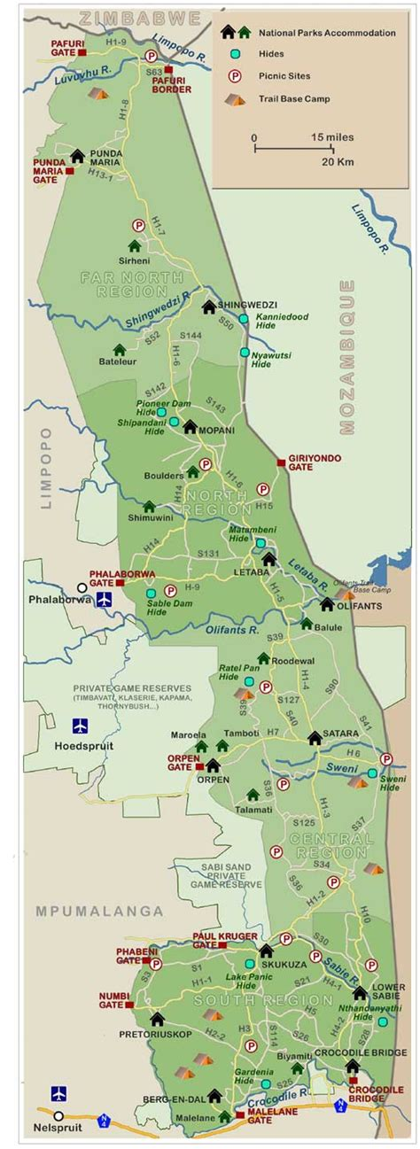 kruger national park map kruger national park south africa photos and info on