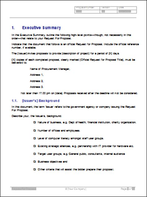 rfp template word request for rfp template writing tips