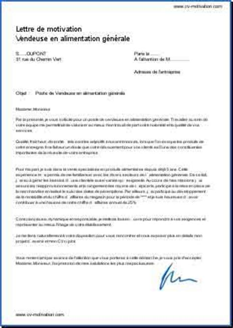 Lettre De Motivation Vendeuse Alimentation Vendeuse En Alimentation G 233 N 233 Rale Exemple De Lettre De Motivation