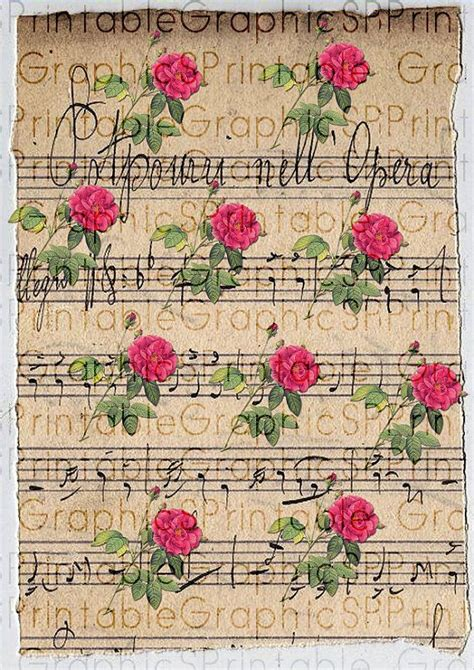 free printable wrapping paper sheets digital wrapping paper gift wrapping vintage roses music