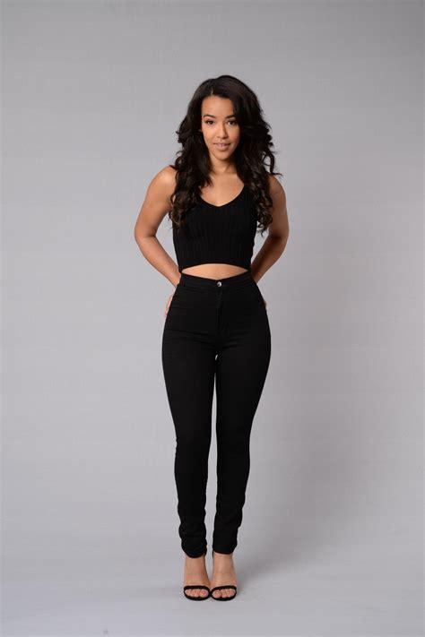 High Waisted Fashion by High Waist Denim Skinnies Black