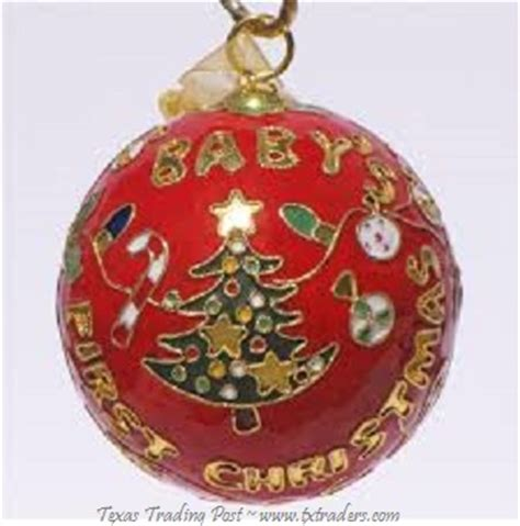 cloisonne baby s first christmas ornament red