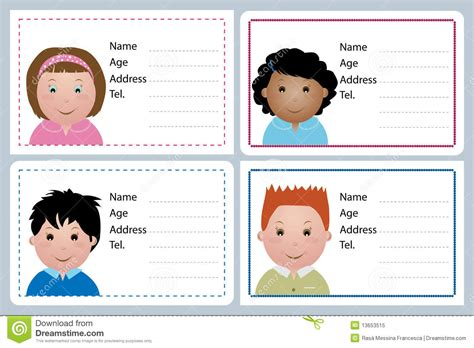 children name card royalty free stock photo image best