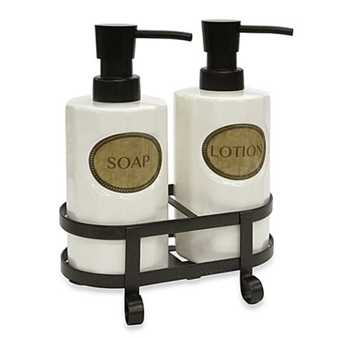bathroom soap and lotion dispenser set buy allure home creation travis pump set in bronze from