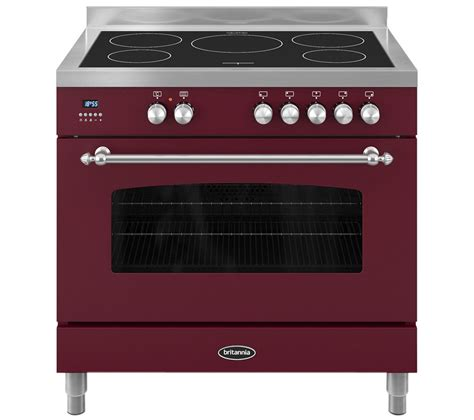 electric induction cooking buy britannia fleet 90 single electric induction range cooker burgundy free delivery currys