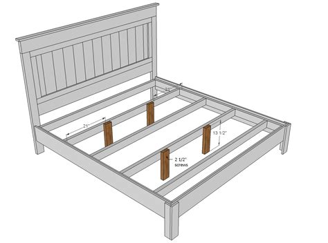 King Size Platform Bed Frame Plans White King Size Fancy Farmhouse Bed Diy Projects