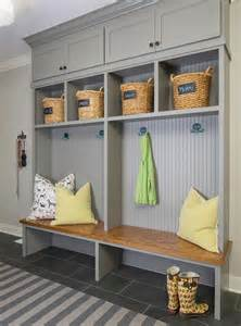 Falls Of Foyer Gray Mudroom Lockers With Beadboard Trim Contemporary