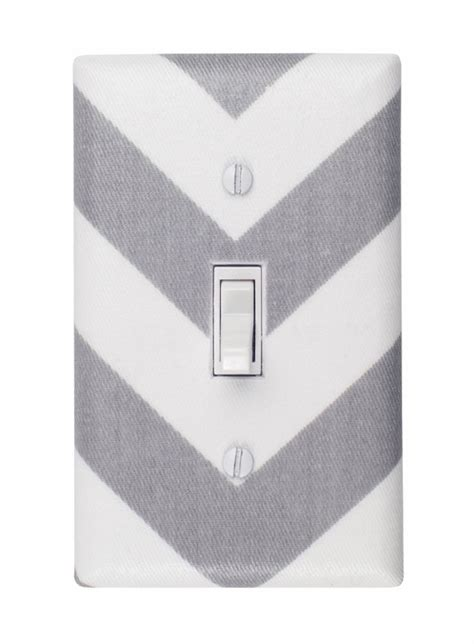 White Light Switch Covers by District17 Gray And White Chevron Light Switch Plate