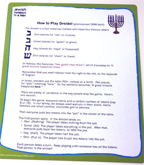 printable directions on how to play dreidel oh dreidel dreidel dreidel jewish holidays in a box