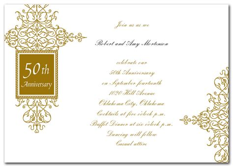 golden anniversary invitations templates wedding invitation wording golden wedding anniversary