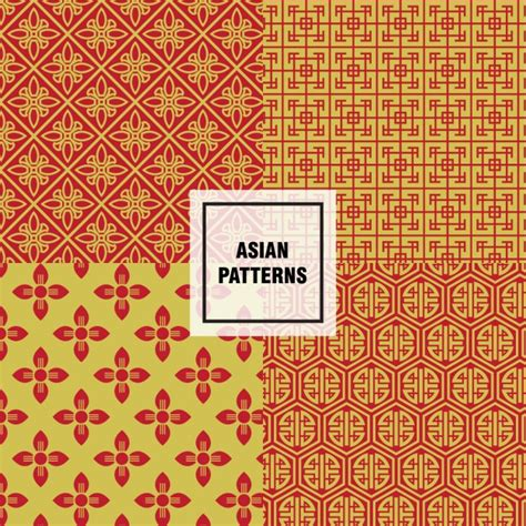 asian pattern ai yellow and orange asian patterns vector free download