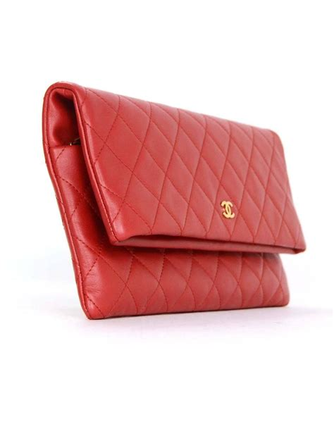Chanel Quilted Clutch Bag by Chanel 2015 Like New Lambskin Quilted Fold Clutch