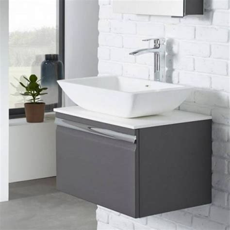 Bathroom Vanity Unit Worktops Roper Pursuit 600mm Charcoal Elm Bathroom Vanity Unit Worktop