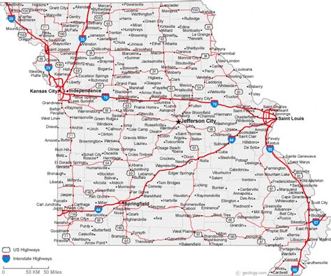 map of missouri cities missouri road map