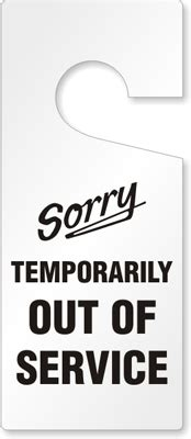 Temporarily Out Of Service Tag Plastic Door Knob Hang Tags Sku Tg 0228 Out Of Service Sign Template
