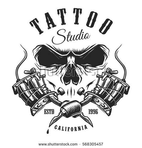 tattoo studio emblem tattoo machines skull stock vector