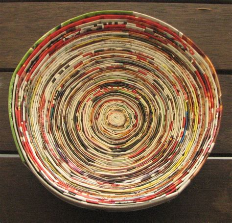 How To Make A Paper Bowl - magazine crafts recycled paper coiled into a bowl