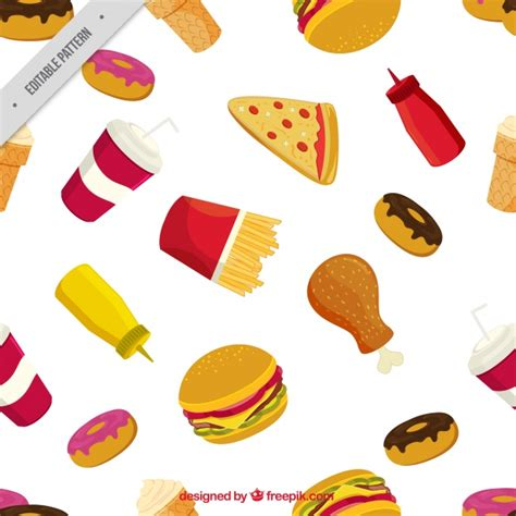 image pattern food fast food pattern vector free download