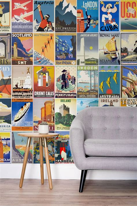 vintage wall murals vintage travel poster wallpaper mural beautiful in and vintage