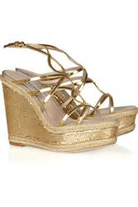 gold wedges shoes brian atwood jourdan chain mail covered rope wedge sandals