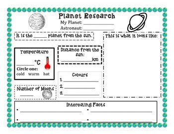 Planet Research Project Outline by Planet Research Planets Students And School