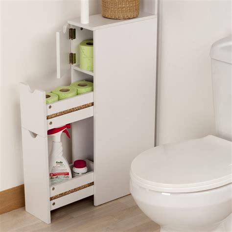 Rangement Pour Salle De Bain meuble de rangement wc toilettes ou salle de bain blanc