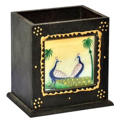 wooden handmade peacock painting pen stand wps 0202