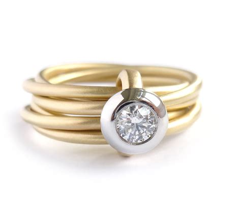Contemporary Engagement Rings by Modern Gold And Platinum 6 Band Enagement Wedding Ring