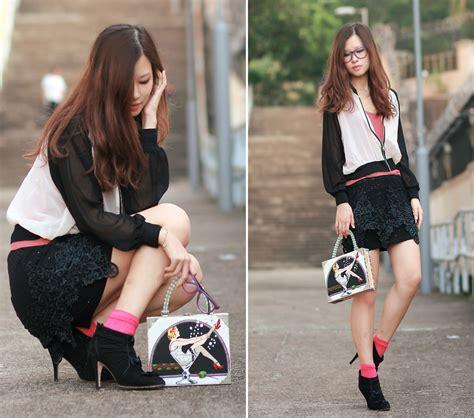 Sheer Baseball Jacket mayo wo sheer baseball jacket lace dress worn as skirt