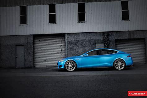 Vossen Tesla Matte Blue Tesla Model S On 22 Inch Vossen Wheel