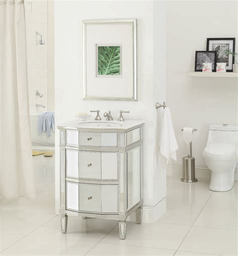 Adelina 24 Inch Mirrored Bathroom Vanity Imperial White Mirrored Bathroom Vanity Cabinet