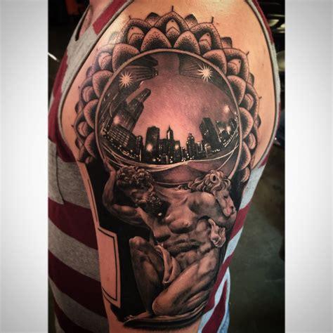 atlas tattoo realistic black and gray chicago fisheye