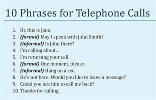 telephone calls in and common phrases