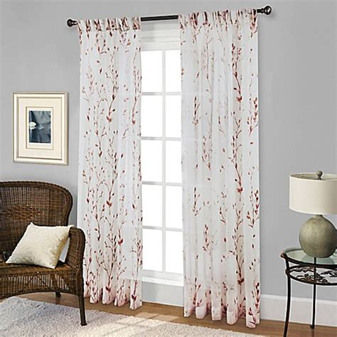 red bathroom window curtains buy willow print pinch pleat 63 inch sheer window curtain