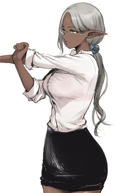 printable elf glasses 1girl dark elf dark skin elf f cla glasses green eyes grey